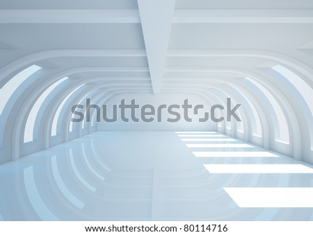 empty wide room with balks - 3d illustration