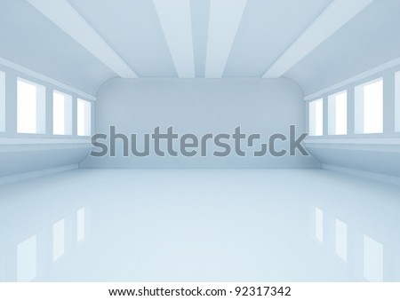 empty wide room with balks, futuristic interior - 3d illustration