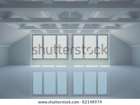 empty wide room with balks in the loft - 3d illustration