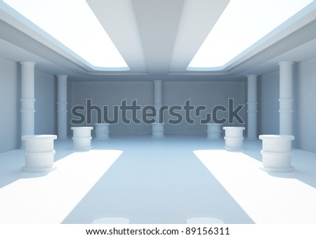 empty wide room with columns and exposition pedestals, interior showroom - 3d illustration