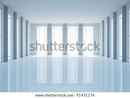 empty wide room with french windows and columns, classic interior - 3d illustration