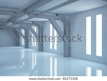 empty wide room with futuristic columns - 3d illustration