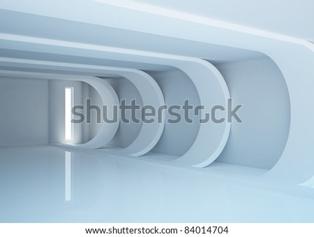 empty wide room with futuristic construction and narrow openings - 3d illustration