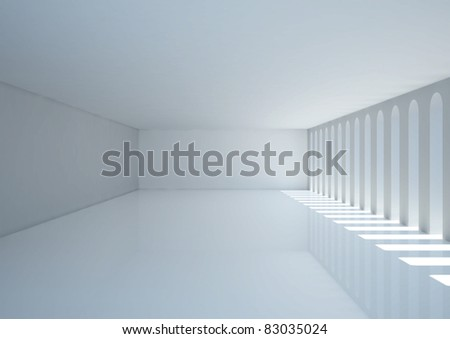 empty wide room with narrow openings - 3d illustration