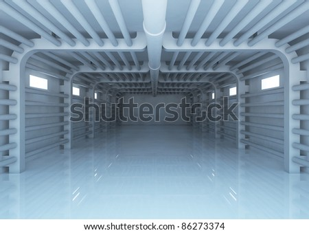 empty wide room with plumbing, warehouse space - 3d illustration