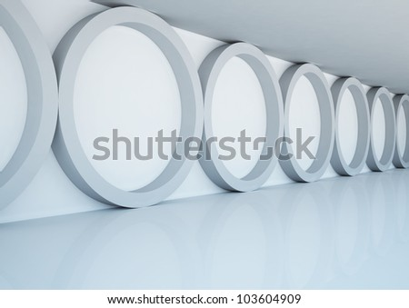 empty wide room with round columns - 3d illustration