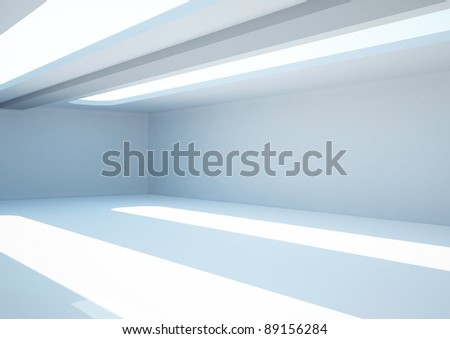 empty wide room with skylights - 3d illustration