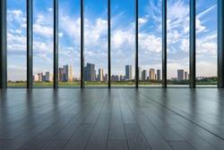 empty window with panoramic city skyline in hangzhou china