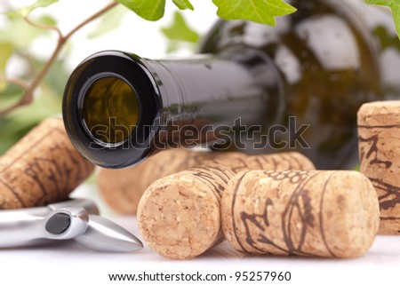 empty wine bottle with corks