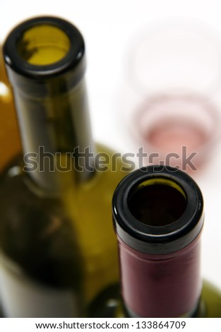 empty wine bottles green and clear wine glass for alcoholic beverages.