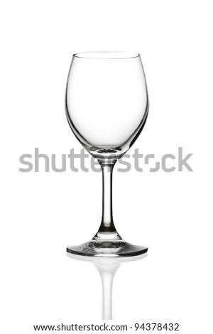 empty wine glass isolated - stock photo
