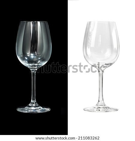 Empty wine glass isolated on black and white #211083262