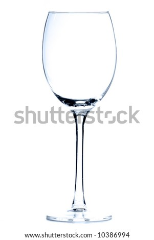 Empty wine glass over white background