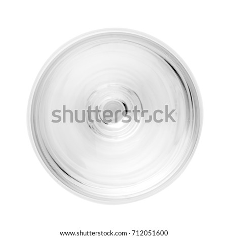 Empty wine glass. single. view top isolated on white background.