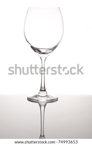 Empty wine glass with mirror reflection as white isolate background