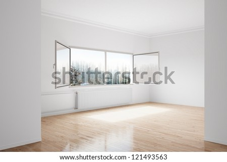 Empty winter room with large central heating device