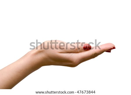 Empty woman hand isolated on white