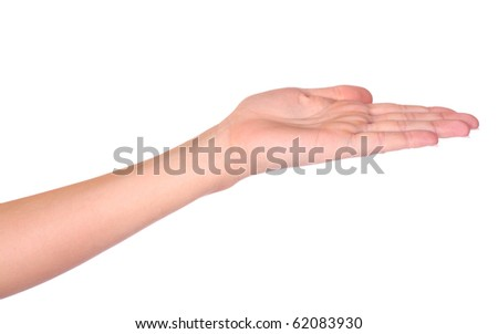 Empty woman hand isolated on white background