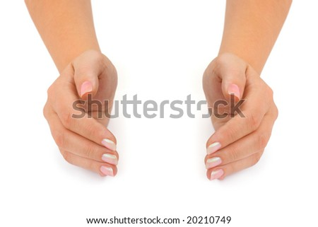 Empty woman hands isolated on white background