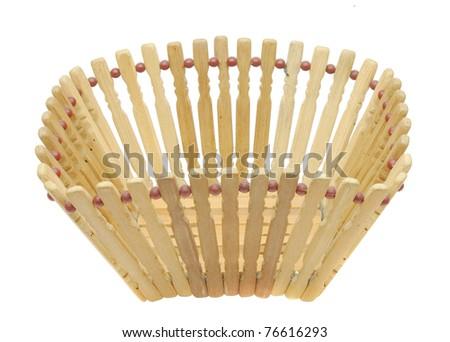 Empty wood basket isolated on white background