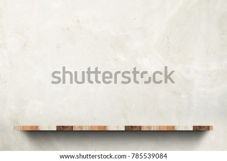 Empty wood board shelf at concrete wall background,Mock up for display or montage of product or design #785539084