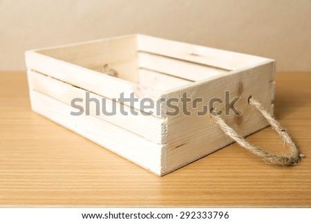 empty wood box on wood background