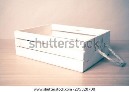 empty wood box on wood background vintage style