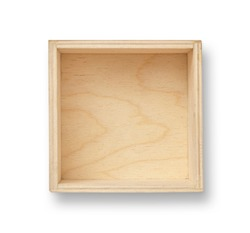 Empty wood box with isolated white background. Top view.