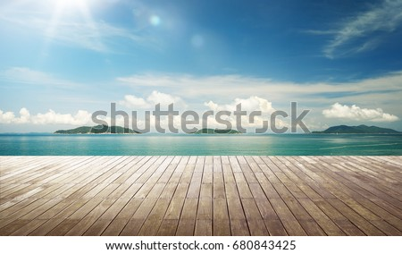 Empty wood jetty floor in front of beautiful afternoon seascape . #680843425