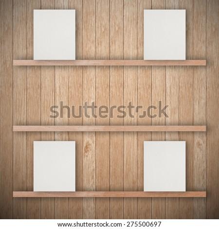 Empty wood shelf and empty paper