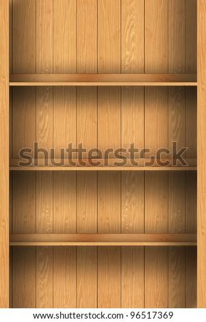 Empty wood shelf. grunge industrial interior Uneven diffuse lighting version. Design component
