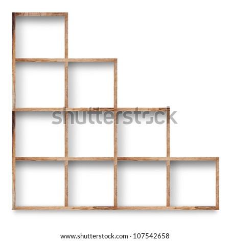 Empty wood shelf on wall, isolated on white background