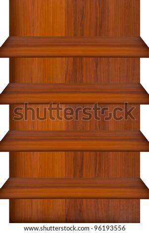 Empty wood shelf on white background