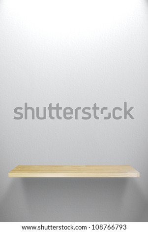 Empty Wood Shelf on white wall
