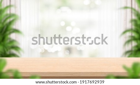 Empty wood table and blur background. Consisting of curtains and plants. Concept for product presentation display. 3D illustration