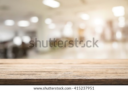 Empty wood table and blurred bokeh cafe light background. product display template. Business presentation.