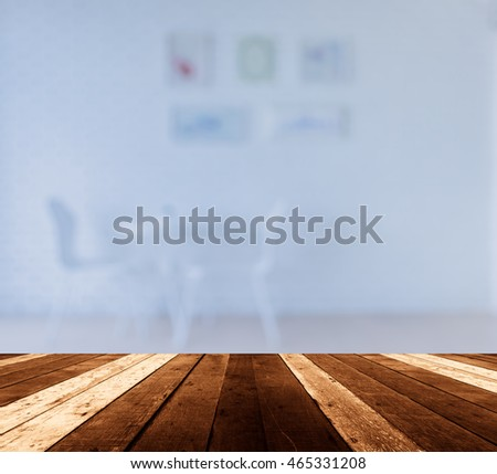 Empty Wood Table And Blurred Living Room Background