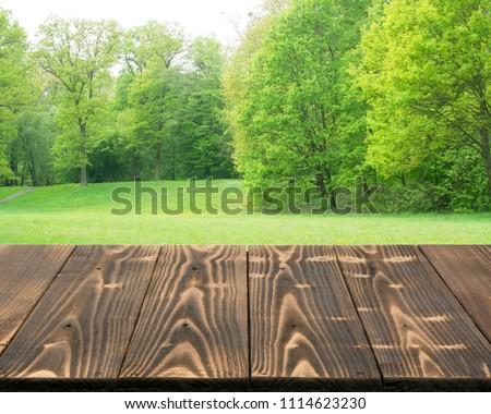 Empty wood table outside in beautiful summer day. Rustic wooden desk outdoor background. Template mock up with countertop for product advertising #1114623230
