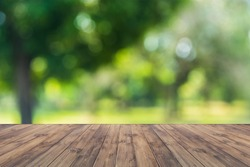 Empty wood table top on forest background. can montage or display your products