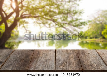 empty wood table tree in the nature park green pond Abstract Natural used for montage or display your products. #1045983970