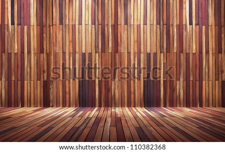 Empty wood wall with spot lights and wooden floor