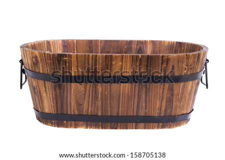 Empty wooden basket- solated on white background