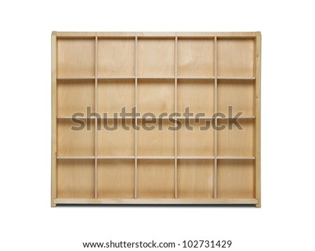 Empty wooden bookshelf isolated on white background
