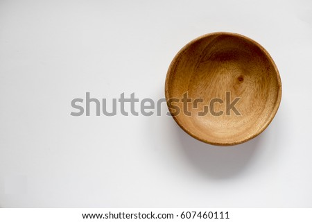 Empty Wooden Bowl, isolated, top view Stock photo ©