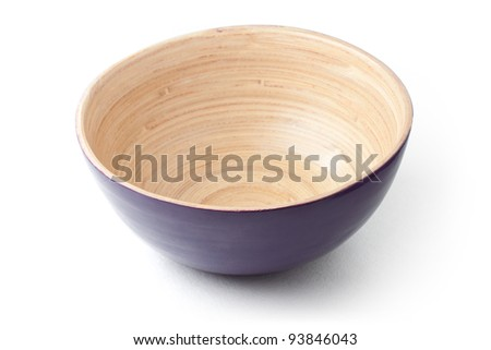 Empty wooden bowl.  With clipping path.