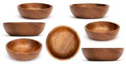 Empty wooden bowls isolated on white background. Set of wood bowls. Collection.