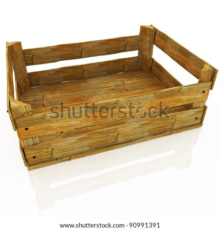 Empty wooden box. Container for fruits and vegetables.