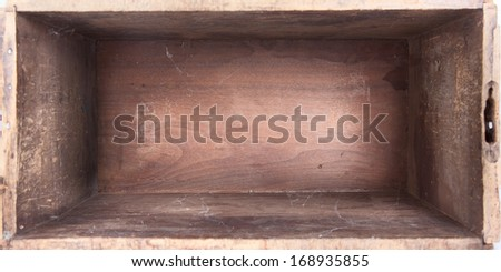 empty wooden box inside view