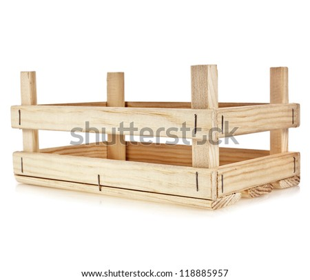 empty wooden box isolate on a white background