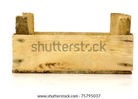 empty wooden box (long side view) on a white background